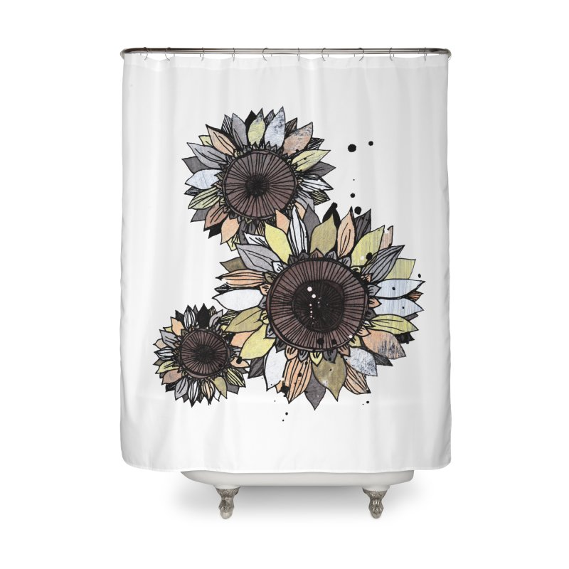 Sunflowers (White) Home Shower Curtain by ilustramar's Artist Shop