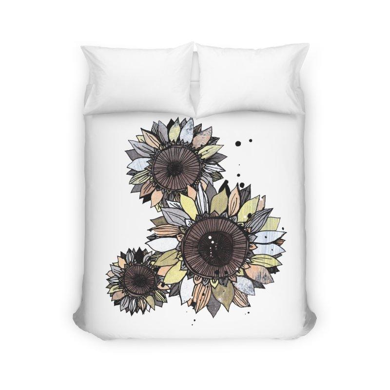 Sunflowers (White) Home Duvet by ilustramar's Artist Shop