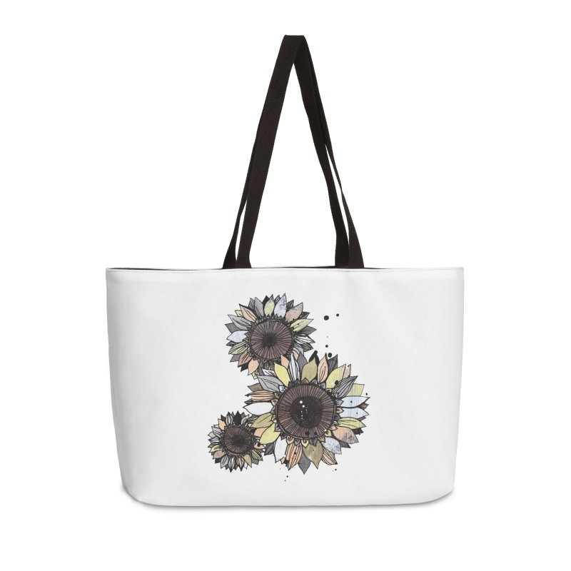 Sunflowers (White) Accessories Weekender Bag Bag by ilustramar's Artist Shop