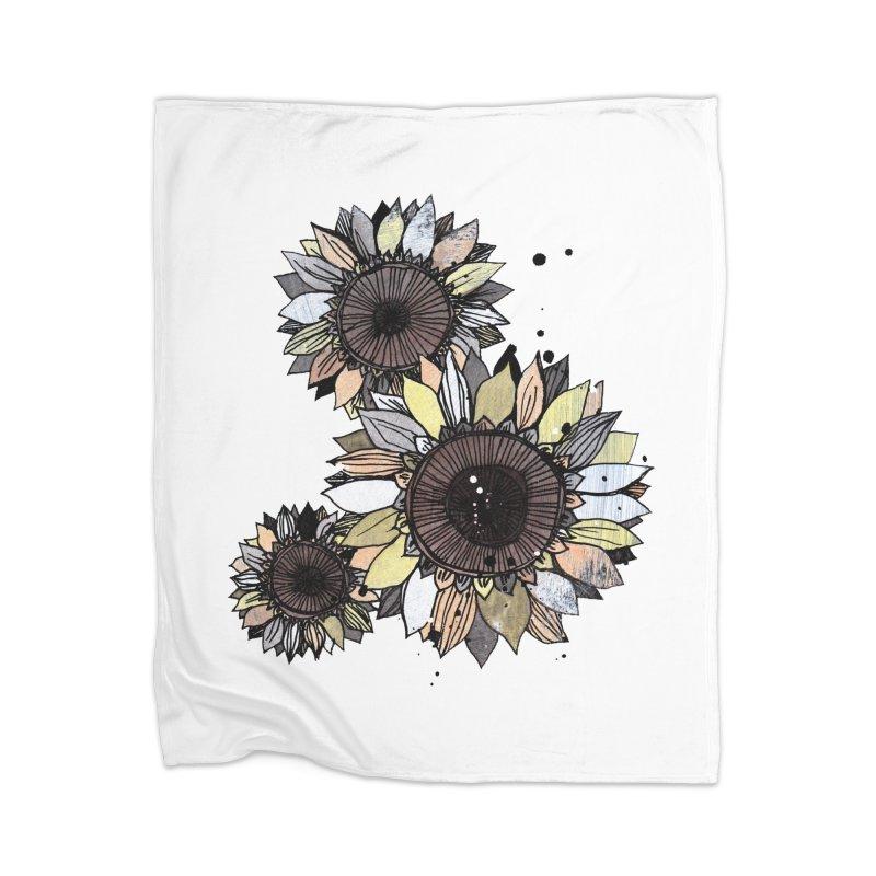 Sunflowers (White) Home Blanket by ilustramar's Artist Shop