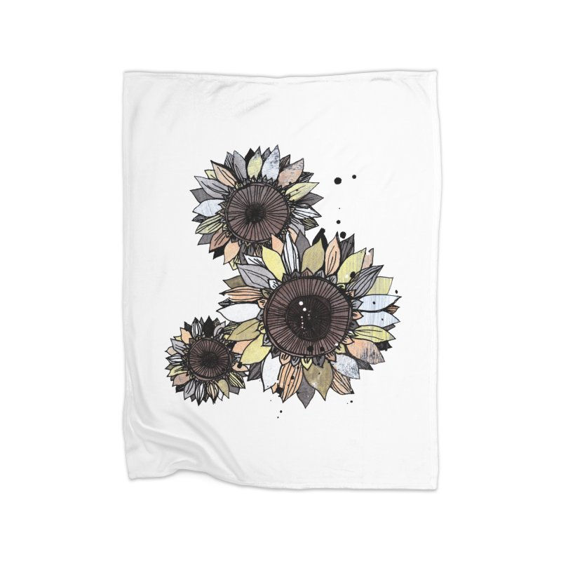 Sunflowers (White) Home Fleece Blanket Blanket by ilustramar's Artist Shop
