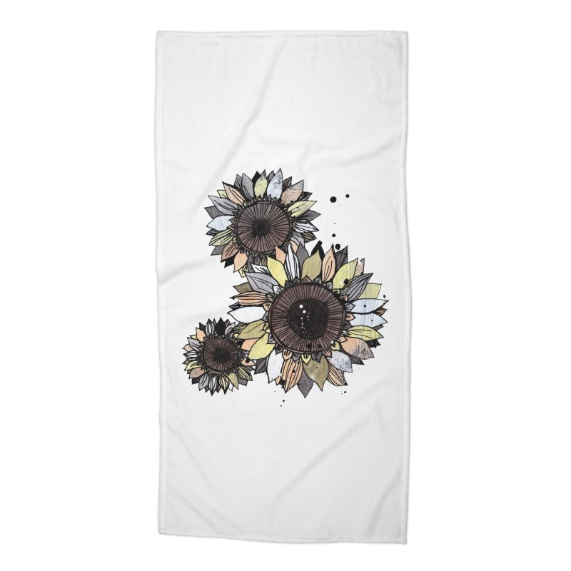 Sunflowers (White) Accessories Beach Towel by ilustramar's Artist Shop