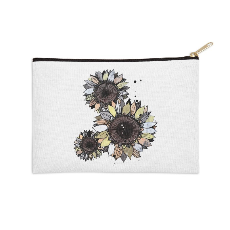 Sunflowers (White) Accessories Zip Pouch by ilustramar's Artist Shop