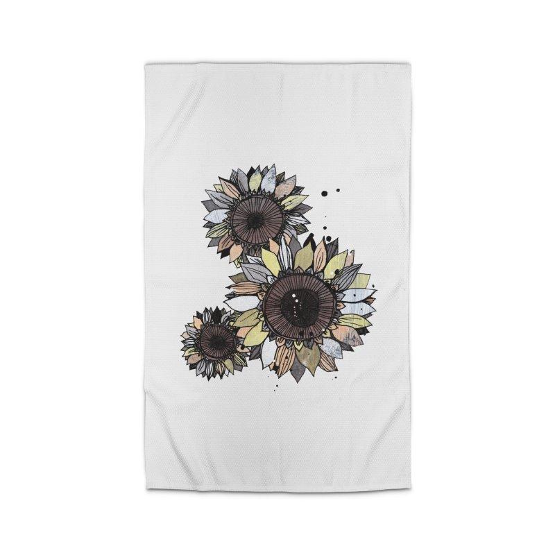 Sunflowers (White) Home Rug by ilustramar's Artist Shop