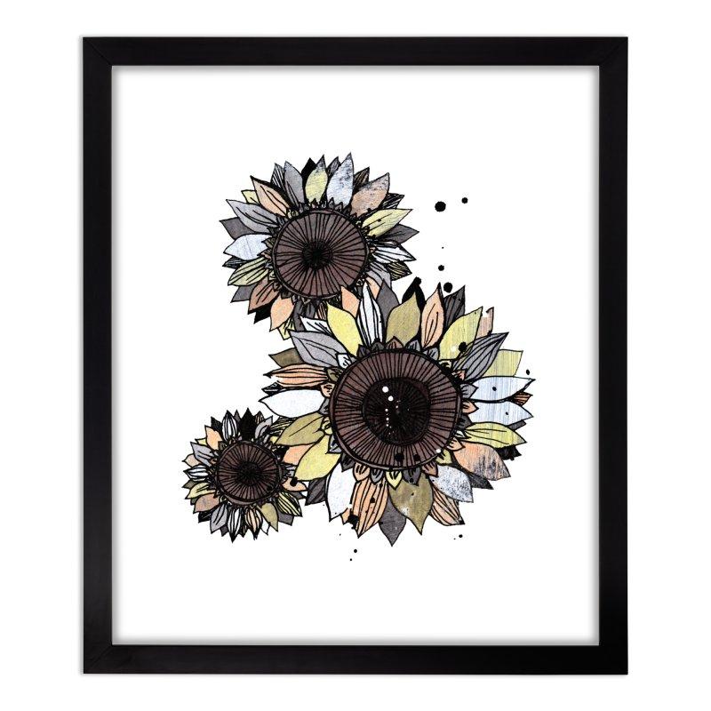 Sunflowers (White) Home Framed Fine Art Print by ilustramar's Artist Shop