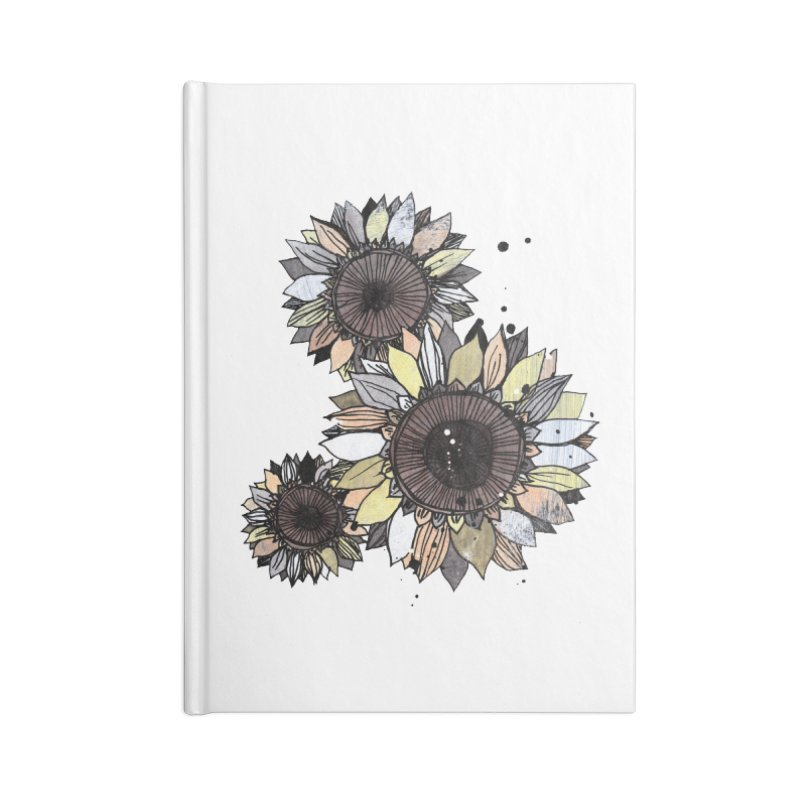 Sunflowers (White) Accessories Lined Journal Notebook by ilustramar's Artist Shop