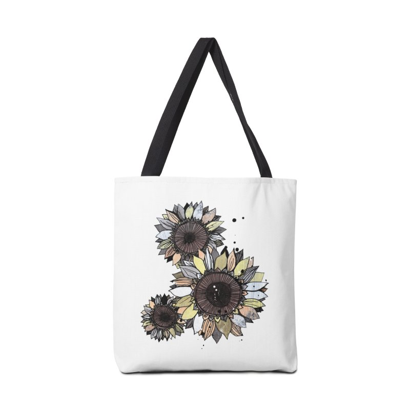 Sunflowers (White) Accessories Tote Bag Bag by ilustramar's Artist Shop