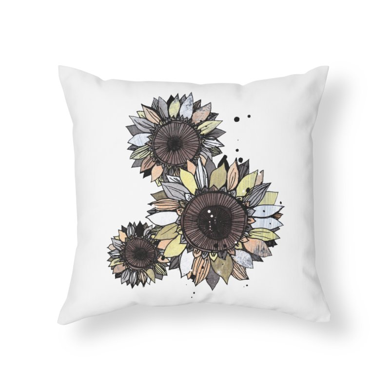 Sunflowers (White) Home Throw Pillow by ilustramar's Artist Shop