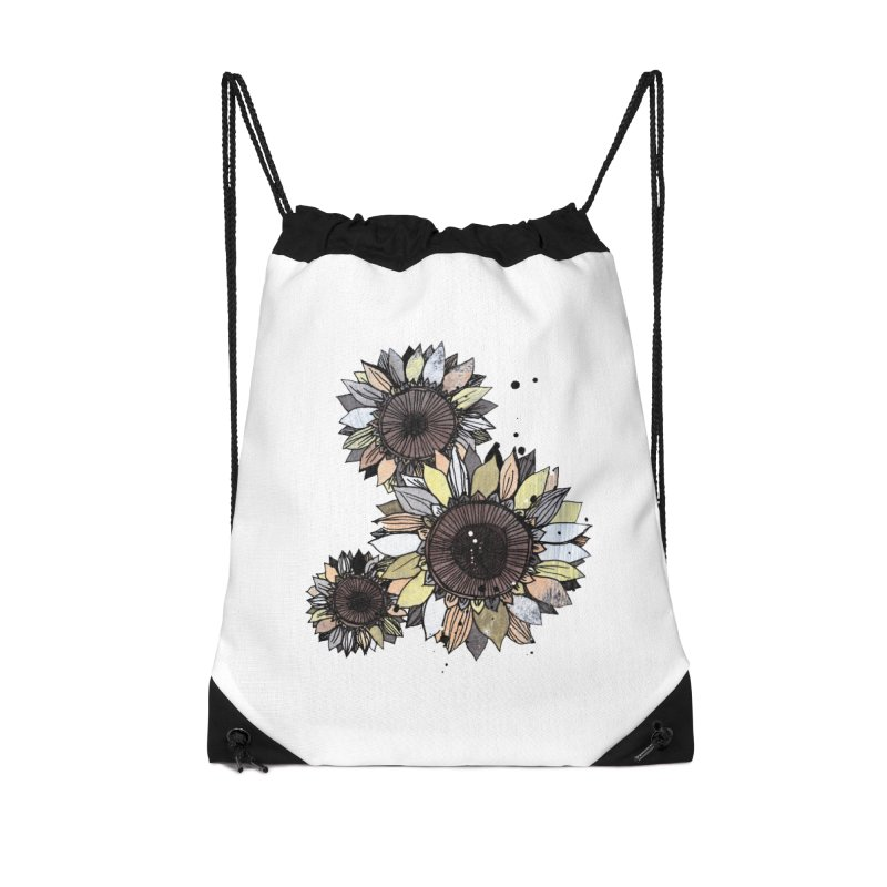 Sunflowers (White) Accessories Drawstring Bag Bag by ilustramar's Artist Shop