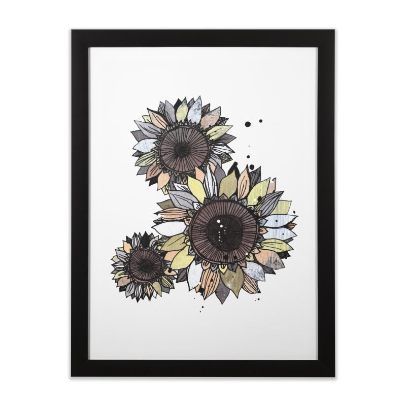 Sunflowers (White) Home Framed Fine Art Print by ilustramar's Artist Shop