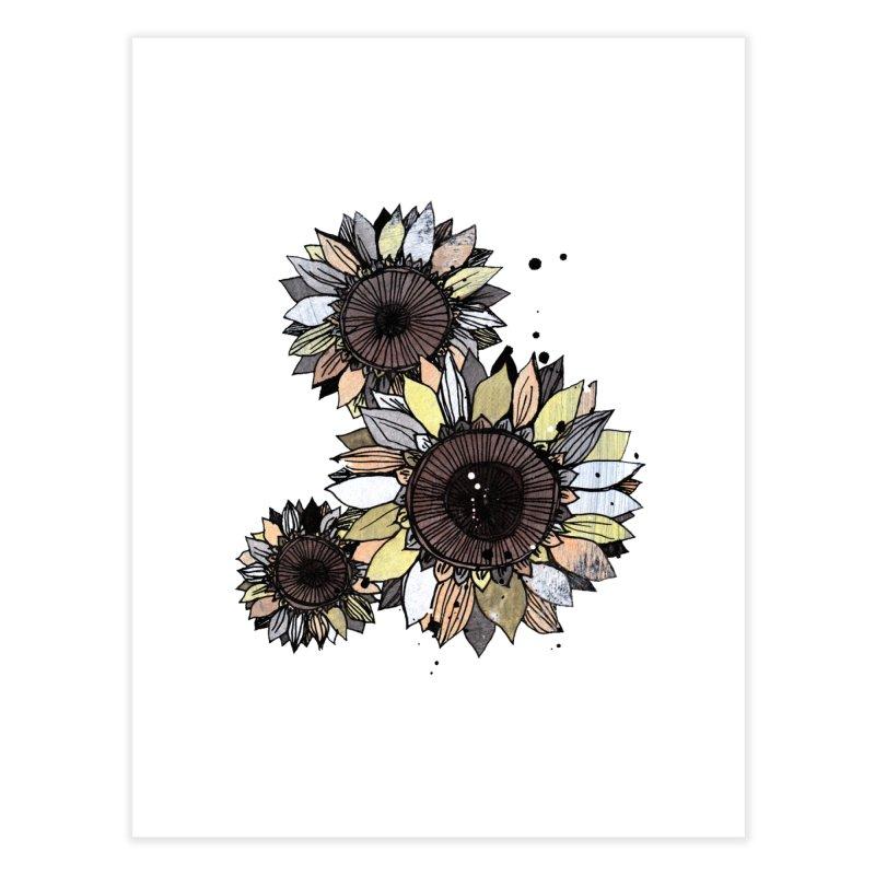 Sunflowers (White) Home Fine Art Print by ilustramar's Artist Shop