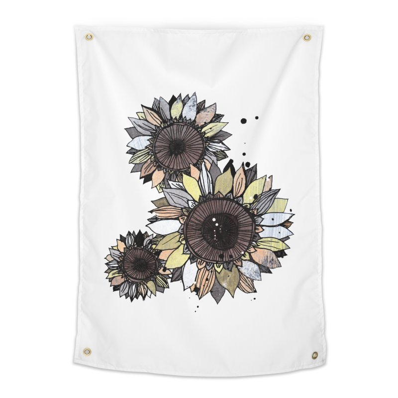 Sunflowers (White) Home Tapestry by ilustramar's Artist Shop