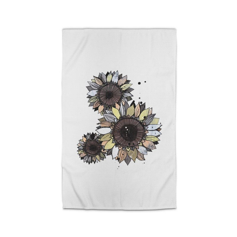 Sunflowers (White) Home Rug by ilustramar's Artist Shop