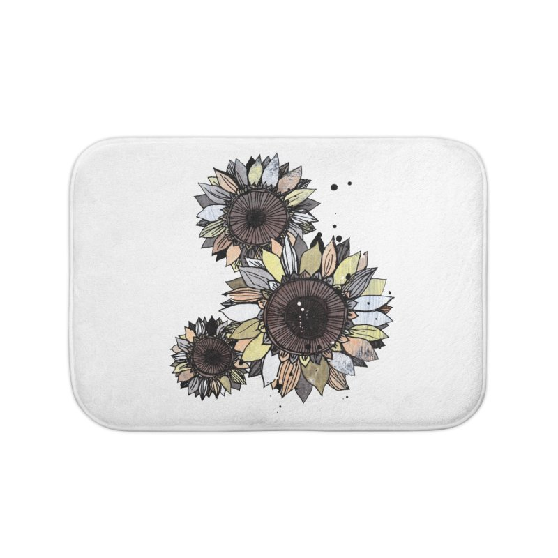 Sunflowers (White) Home Bath Mat by ilustramar's Artist Shop