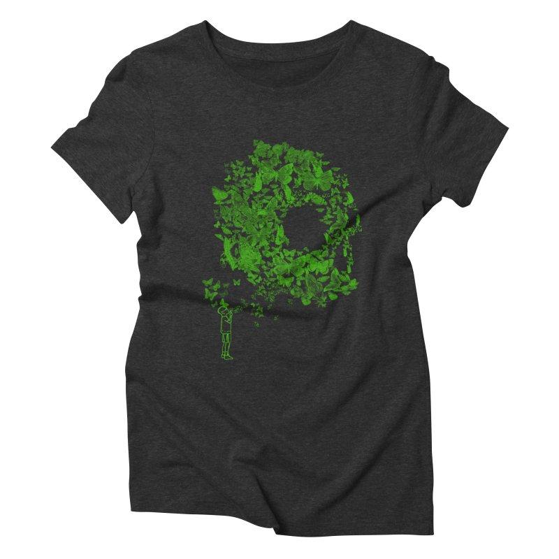 SKULL BUTTERFLY Women's Triblend T-shirt by ilustramurilo's Artist Shop