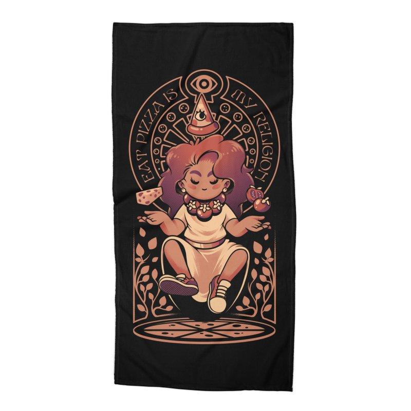 Pizza Goddess Accessories Beach Towel by ilustrata