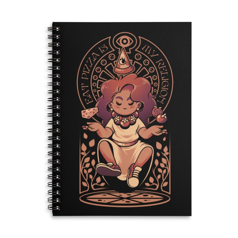 Pizza Goddess Accessories Lined Spiral Notebook by ilustrata