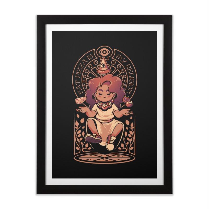 Pizza Goddess Home Framed Fine Art Print by ilustrata