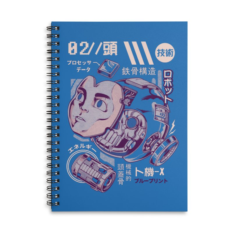 X's head Accessories Lined Spiral Notebook by ilustrata