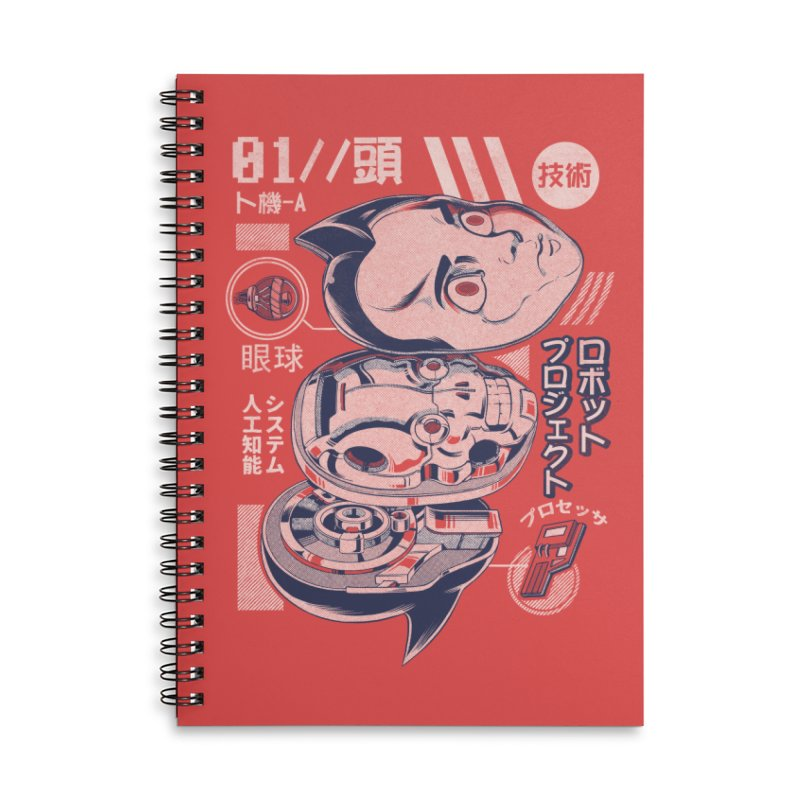 Atomic head Accessories Lined Spiral Notebook by ilustrata