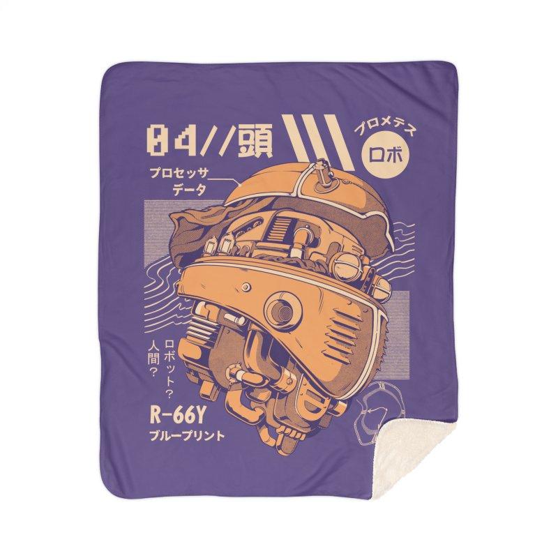 Robo-head Home Sherpa Blanket Blanket by ilustrata