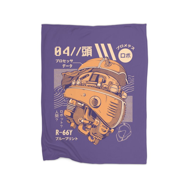 Robo-head Home Fleece Blanket Blanket by ilustrata