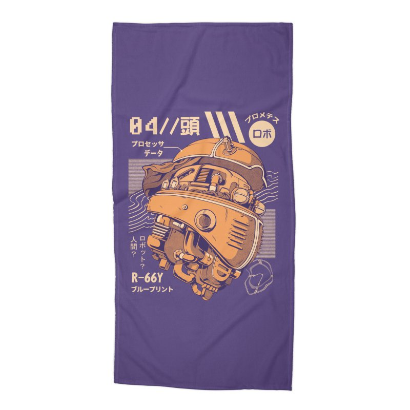 Robo-head Accessories Beach Towel by ilustrata