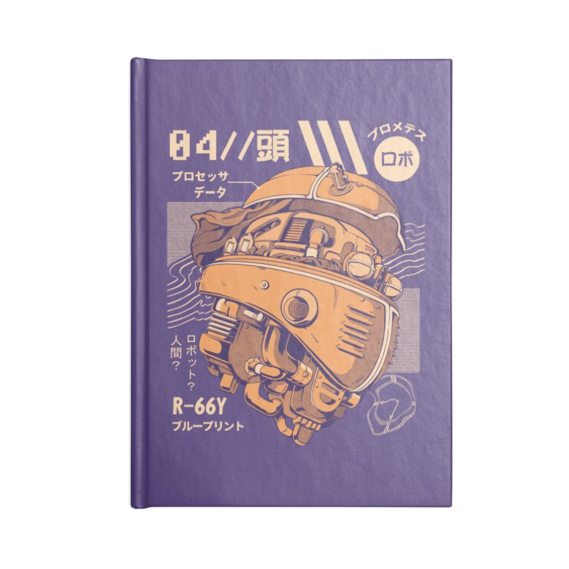 Robo-head Accessories Lined Journal Notebook by ilustrata