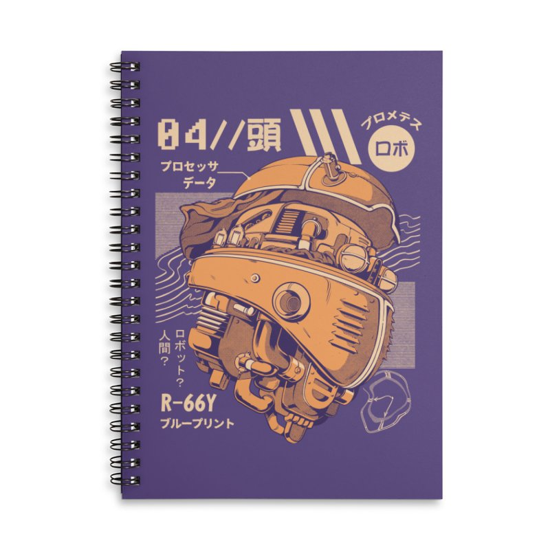 Robo-head Accessories Lined Spiral Notebook by ilustrata