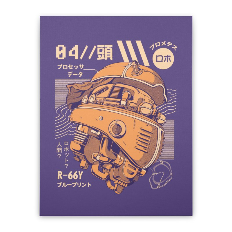 Robo-head Home Stretched Canvas by ilustrata