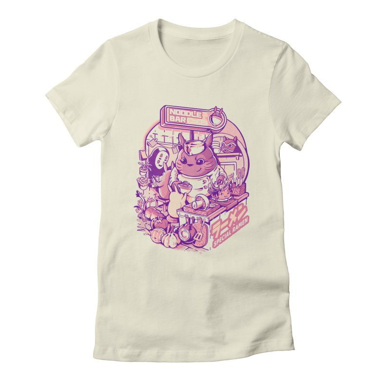 My neighbor noodle bar Women's Fitted T-Shirt by ilustrata