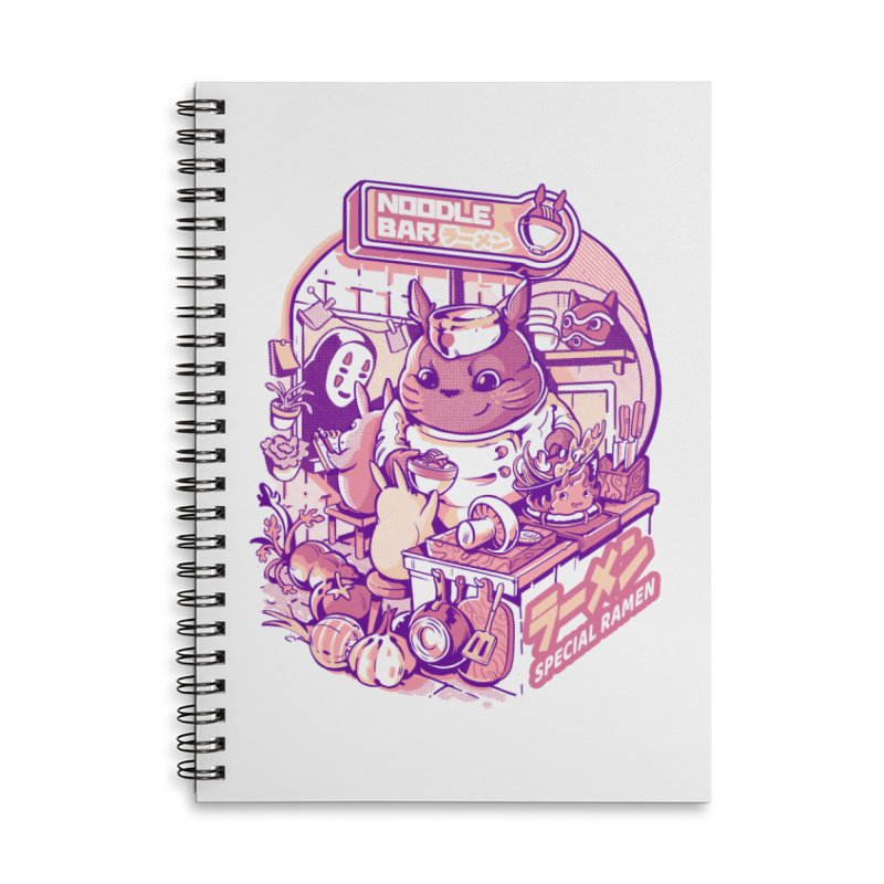 My neighbor noodle bar Accessories Lined Spiral Notebook by ilustrata