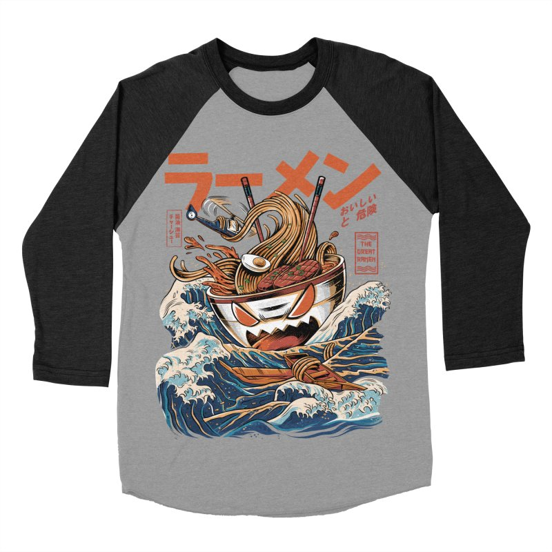 The black Great Ramen Men's Baseball Triblend Longsleeve T-Shirt by ilustrata