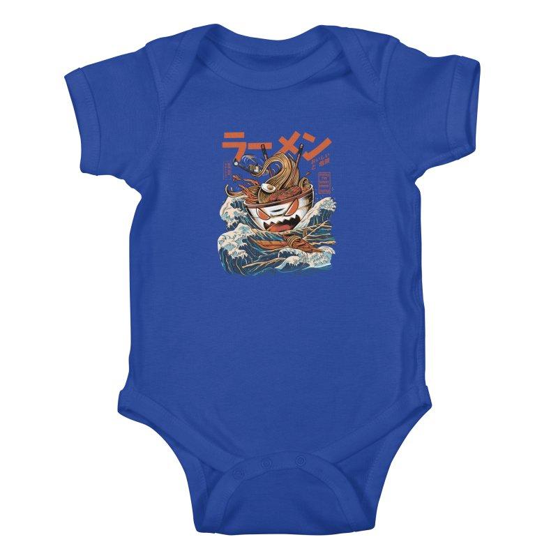 The black Great Ramen Kids Baby Bodysuit by ilustrata