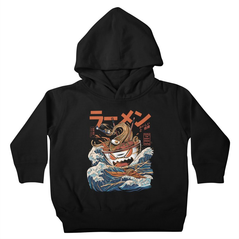 The black Great Ramen Kids Toddler Pullover Hoody by ilustrata