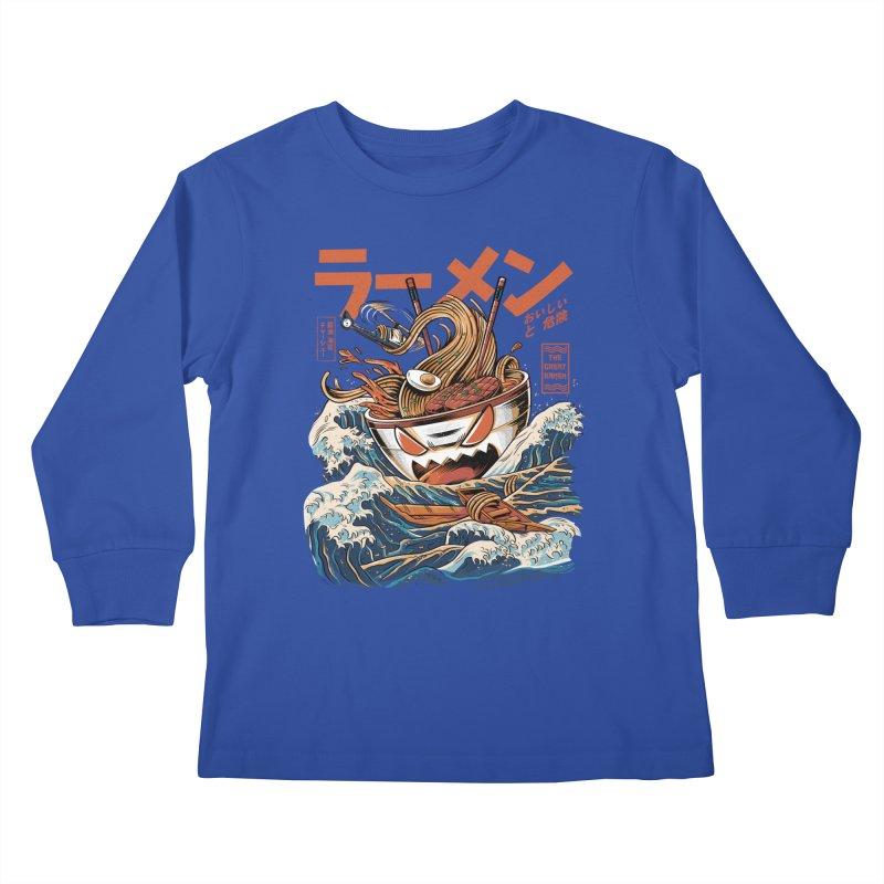 The black Great Ramen Kids Longsleeve T-Shirt by ilustrata