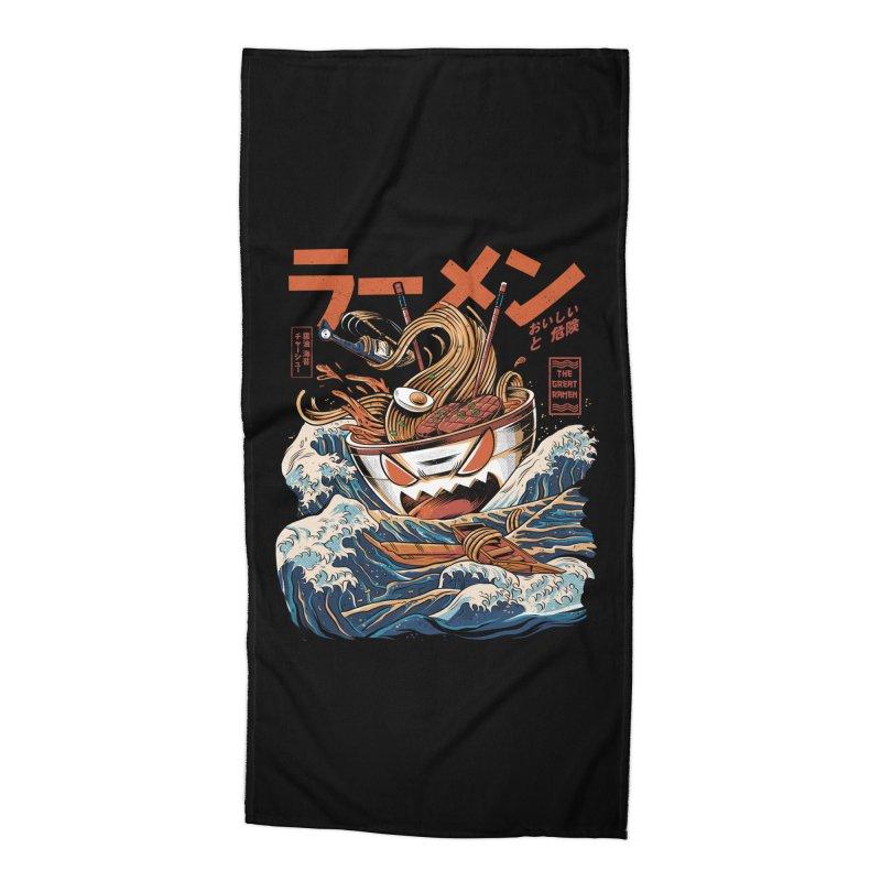 The black Great Ramen Accessories Beach Towel by ilustrata