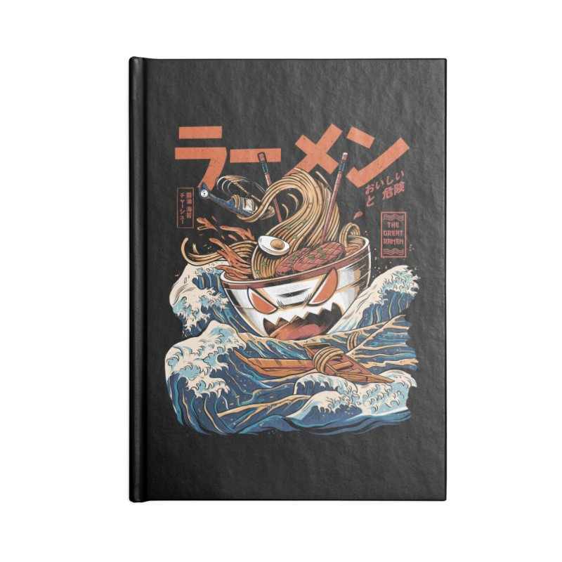 The black Great Ramen Accessories Lined Journal Notebook by ilustrata