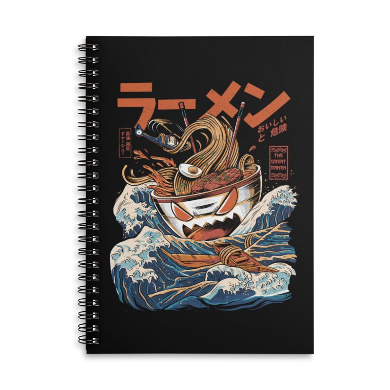 The black Great Ramen Accessories Lined Spiral Notebook by ilustrata