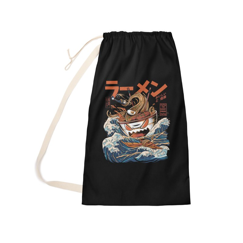 The black Great Ramen Accessories Laundry Bag Bag by ilustrata
