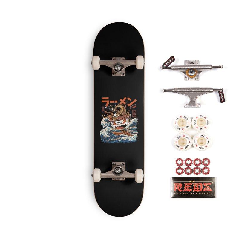 The black Great Ramen Accessories Complete - Pro Skateboard by ilustrata