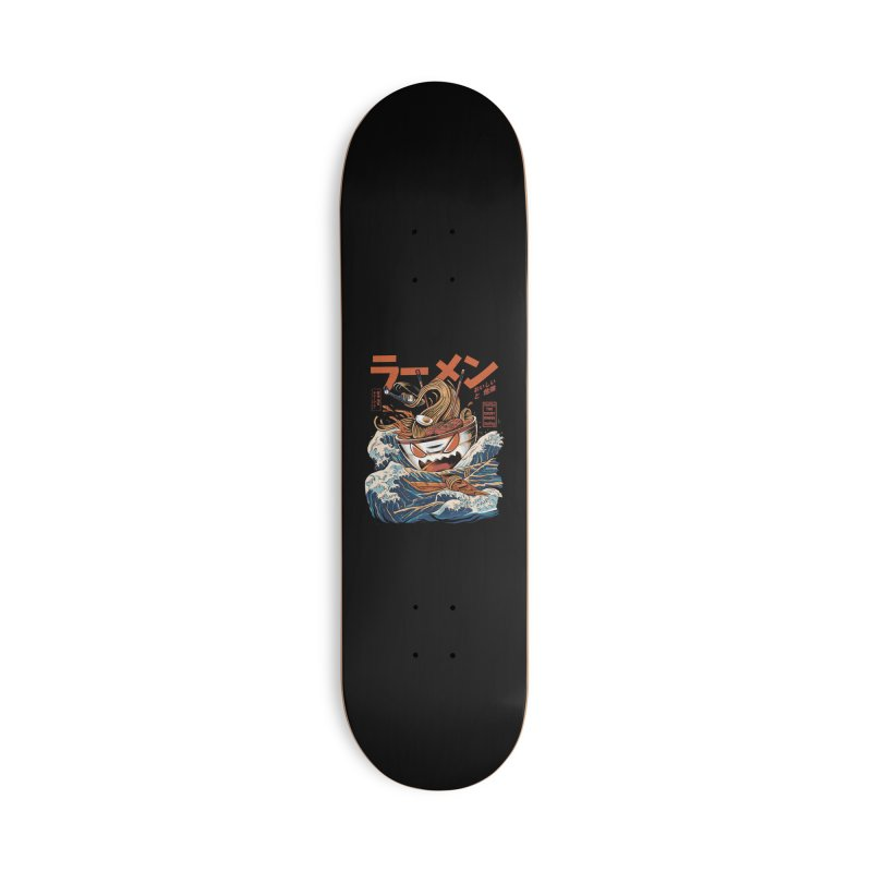 The black Great Ramen Accessories Deck Only Skateboard by ilustrata