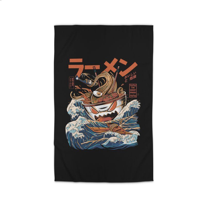 The black Great Ramen Home Rug by ilustrata