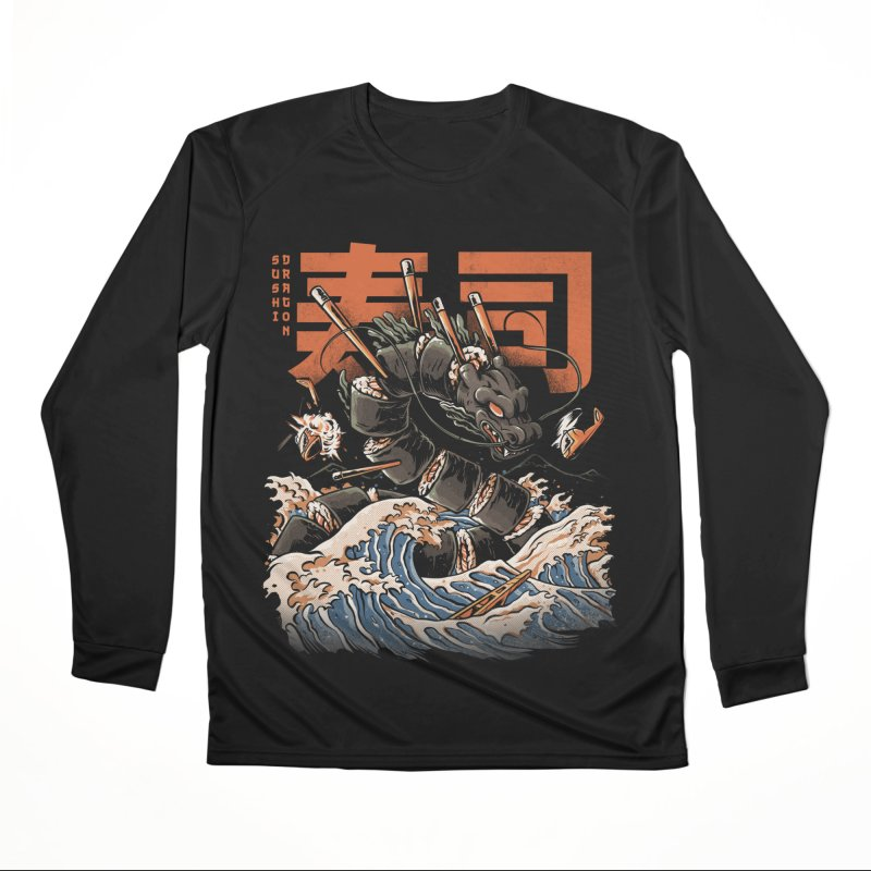 The Black Sushi Dragon Women's Performance Unisex Longsleeve T-Shirt by ilustrata