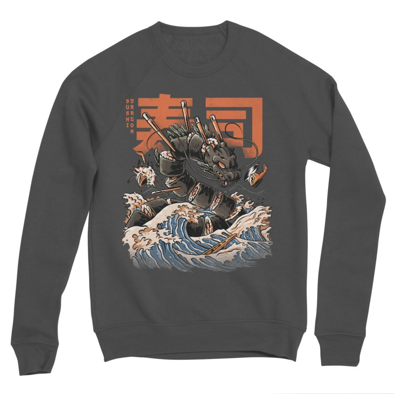 The Black Sushi Dragon Men's Sponge Fleece Sweatshirt by ilustrata
