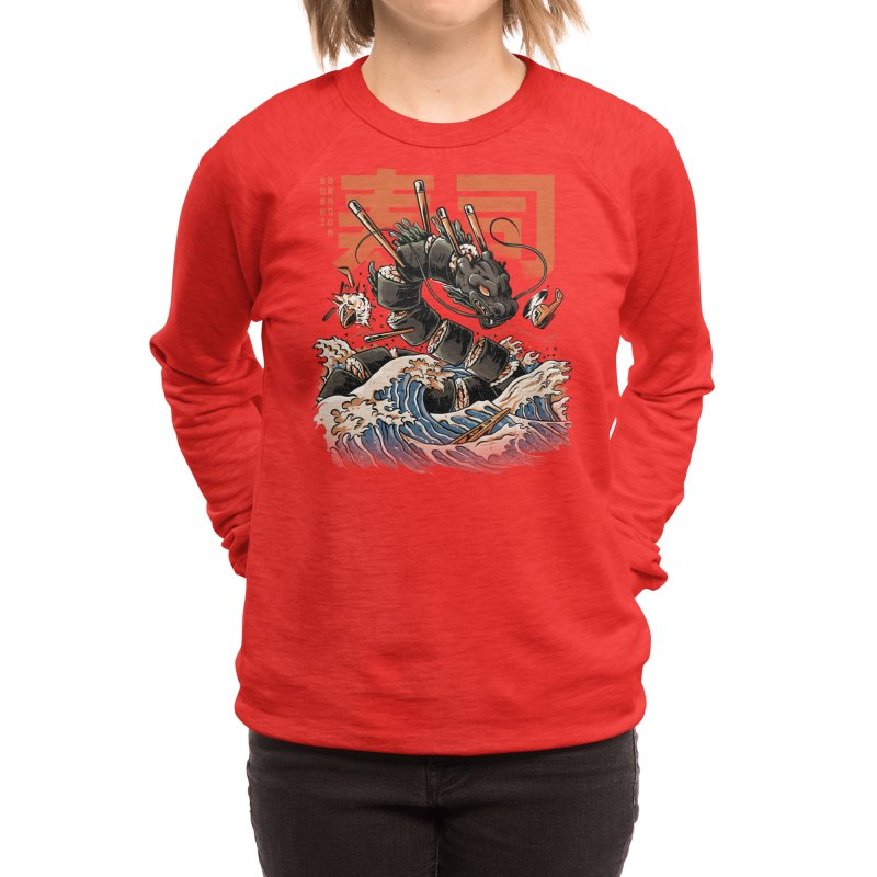 The Black Sushi Dragon Women's Sweatshirt by ilustrata