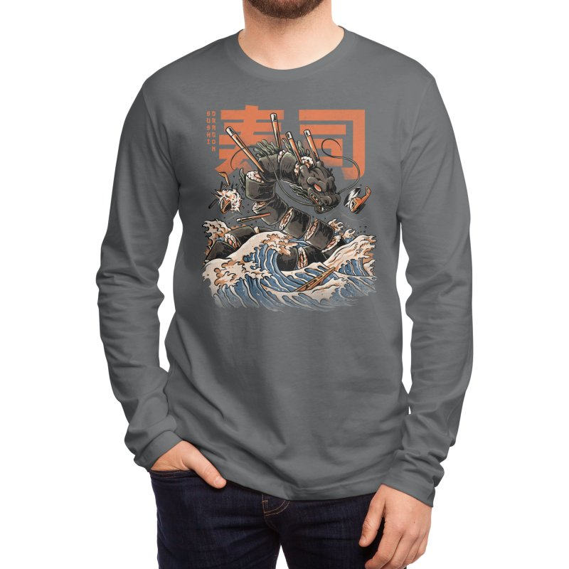 The Black Sushi Dragon Men's Longsleeve T-Shirt by ilustrata