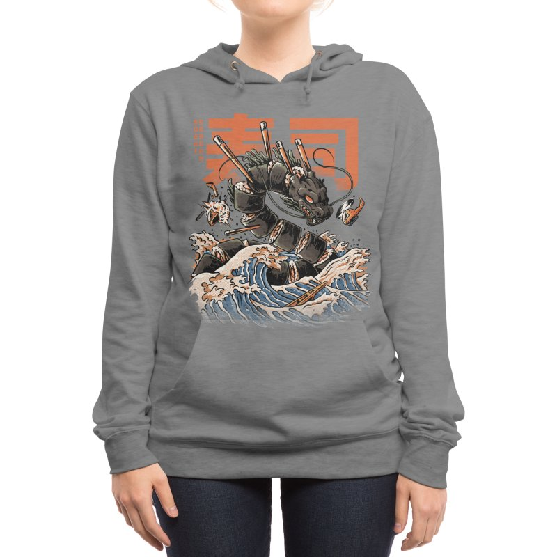 The Black Sushi Dragon Women's Pullover Hoody by ilustrata