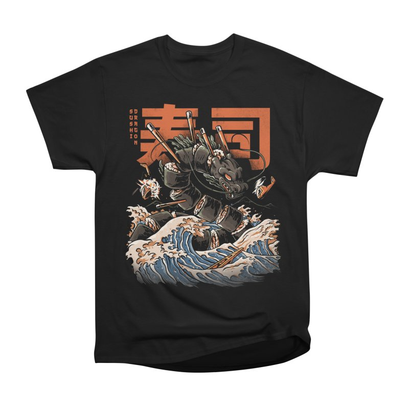 The Black Sushi Dragon Men's Heavyweight T-Shirt by ilustrata
