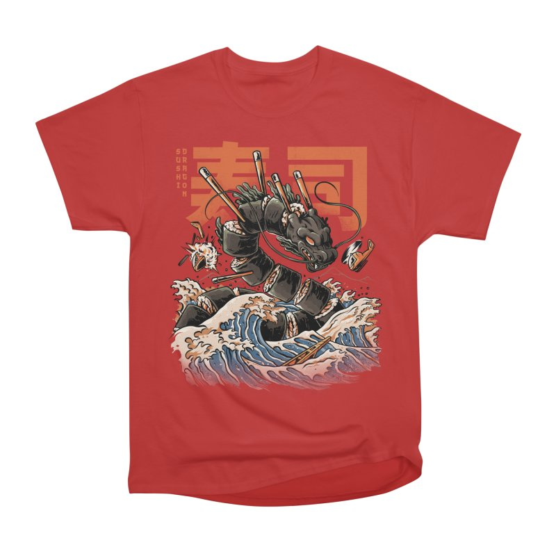 The Black Sushi Dragon Women's Heavyweight Unisex T-Shirt by ilustrata
